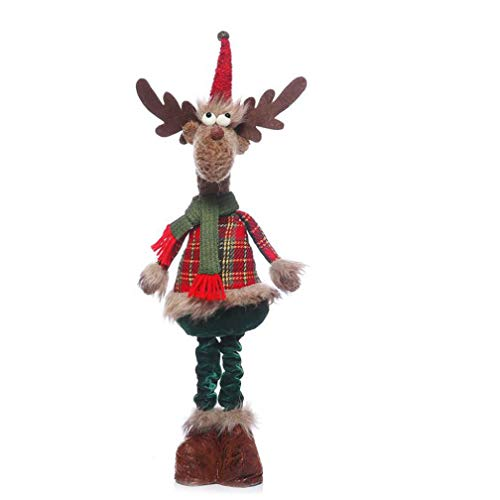 (JJY Weihnachtsdekorationen, 24 Inch Retractable Plush Deer Ornamente, Shopping Mall Weihnachtsszene, Layout-Requisiten,A)