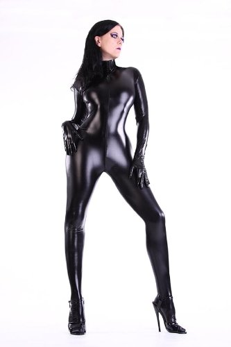 unisex latex lack look catsuit overall ganzanzug size m amazon