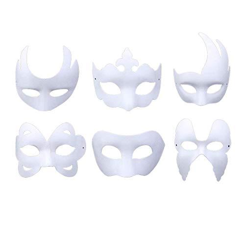 BIEE Weiße Maske Halbmaske Weiß Unlackiert Maskerade Maske -