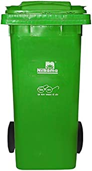 PUFFIN Platinum Plastic Aristo Big 120 Ltr Garbage Waste Trash Bucket Dustbin with Wheels and Lid (Green)