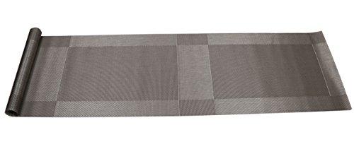 Famibay Table Runner Washable Vinyl Table Runner for Kitchen Table Non Slip (135, Silver Grey)