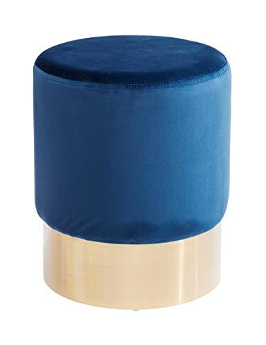 Kare Polsterhocker Cherry Brass, kleiner, moderner Design Hocker mit Samtbezug, rund, Blau-messing (H/B/T) 42x35x35cm