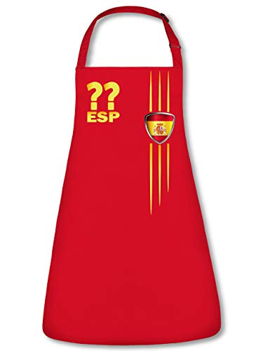 Golebros Spanien Espania Spain Wunsch Zahl ohne Name Fan Artikel 3211 Fuss Ball Trikot Look WM 2022 Football Unisex Koch Latz Küchen Grill Schürze Rot (Spanien-schürze)