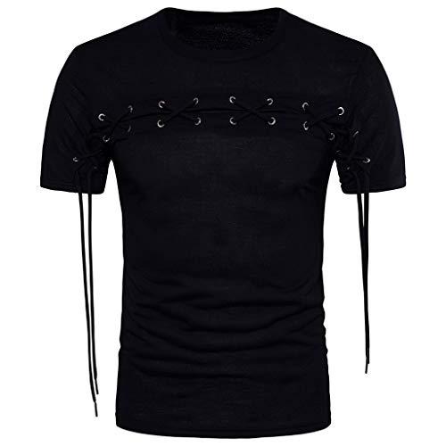 Mode Männer Bandage Rundhals beiläufige dünne Kurzarmhemden Tops Bluse Zolimx - Bandagen Plus