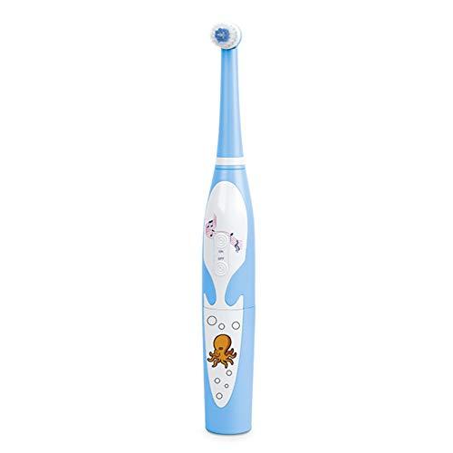 Musikalische Zahnbürste (CCHM Musikalische elektrische zahnbürste oszillierende Wasserdichte Massage Cartoon Design Tiefe Reinigung Plaque zähne für Kinder,Blue)