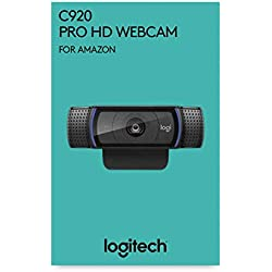 Logitech C920 HD Pro Webcam, Appels Vidéo Full HD 1080p à 30ips, Son Stéréo, Correction d'Éclairage HD, Compatible avec SkypeTM, Google HangoutsTM, FaceTime, Pour Gamer, Portable/PC/Mac/Android - Noir