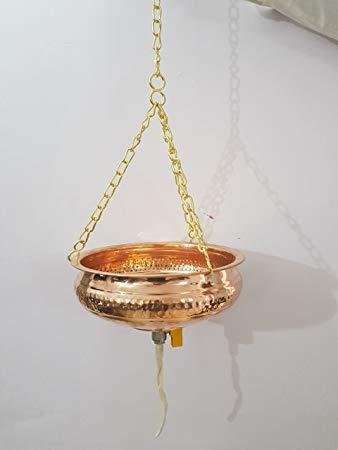 Vaso in puro rame per Shirodhara, con valvola di controllo, 2,5 litri, attrezzatura per Panchakarma Ayurveda, con simbolo Om inciso
