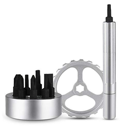 TREA2SURE Multifunktions-Drehschraubendreher, Mehrzweck-Spinner-Schraubendreher, Reparatur-Set für Uhrenkomponenten und Brillen, schwarz -