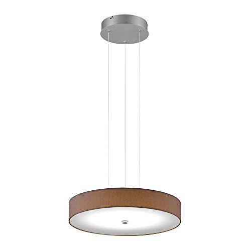 Helestra Bora LED Pendelleuchte Ø45cm, mokka Schirm Chintz Gestell mattnickel eloxiert 2800K 3300lm