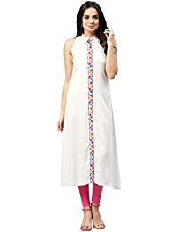 Jaipur Kurti Women White Solid Embroidered A-Line Rayon Dress