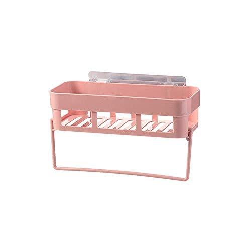 LYDB 2 STÜCKE Kein Bohren Organisieren Halter Wand Bad Dusche Regal Rechteck Kunststoff Halterung Lagerregal Hängen Abflusskorb Mit Handtuchhalter (Farbe: Rosa) -