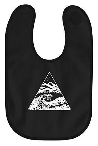 Die Welle vor Kanagawa - Kunst Cooles Shirt Malerei Bild Tsunami Japan Kunst Geographie - Baby Lätzchen -Einheitsgröße-Schwarz