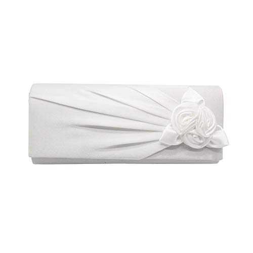 Deloito Mode Damen Einfarbig Handtasche Handgemacht Perlen Pailletten Blume Stickerei Umhängetasche Cocktail Party Tasche Kettentasche Telefon Abendtasche (Weiß) Classic Satin Mantel