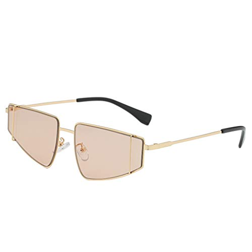 CANDLLY Brillen Damen, Kopfschmuck Zubehör Mode Unisex Sonnenbrille mit unregelmäßiger Form Jahrgang Retro-Stil Brille Metall Sonnenbrillen Spiegel Persönlichkeit Brillengestell Trend Punk Wind