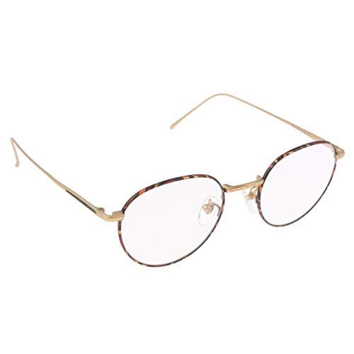 B Baosity Klassischer Runde Form Stil Brillenfassungen - Unisex Brillengestelle - Golden