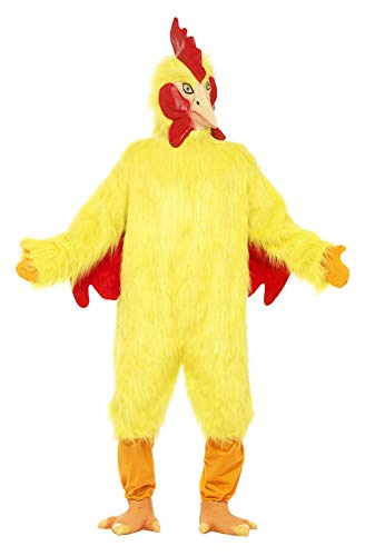 Smiffys Herren Huhn Kostüm, Fellkörper, Maske und Füße, Größe: One Size, 25503