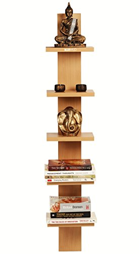Bluewud Louis Wall Decor Shelf / Wall Display Rack (Beech, 5 Shelves) S-LO-B5