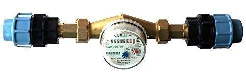Compteur d'eau débit 4m3/h-L'Eau Froide pour maison et jardin 3/10,2cm irrigation mdpe/PE pour connecteurs 32mm