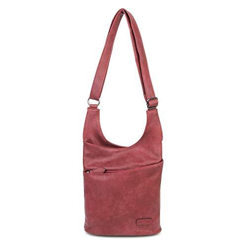 CASAdiNOVA - Umhängetasche Damen Rot Groß - Crossbody Bag - PU Leder Schultertasche - Messenger Handtasche - Damen Tasche - premium Qualität - Leder Messenger Handtasche