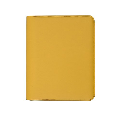 Luxury A5 diary cover in high quality faux leather with zip-round fastening and extra pockets to help with organisation (Mustard Seed)