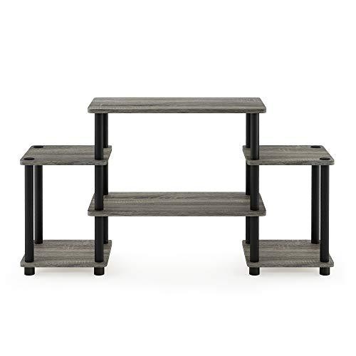 Furinno 11257GYW/BK Drehrohr ohne Werkzeuge, runde Ecke, französische Eiche, grau/schwarz