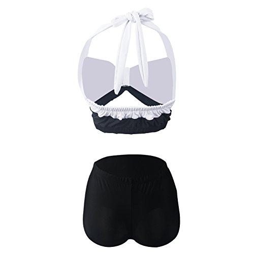Gigileer Vintage 50er Damen Badeanzug Bademode Bikini Set - Hohe Taillen -Neckholder - bauchweg schwarze Streifen XL -