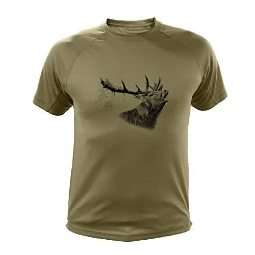 Jagd T Shirt, Hirsch (303, Grun, XL) - Hirsch Herren T-shirt