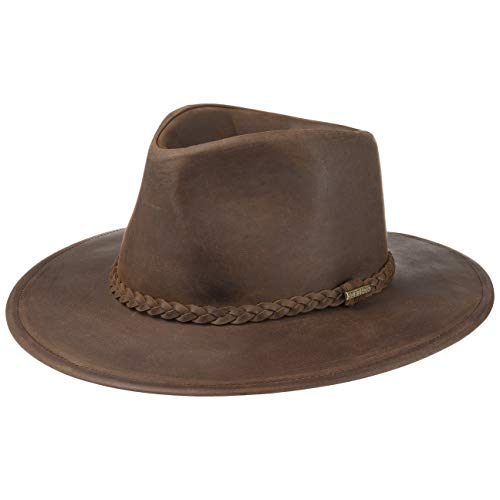 Stetson Buffalo Leather Westernhut Lederhut Cowboyhut Rodeohut Hut (S (54-55 cm) - Dunkelbraun)
