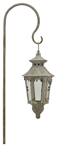 E-X Hänge Laterne incl.Steck Haken Antik Grau Metall Garten H 110 cm Vintage Shabby
