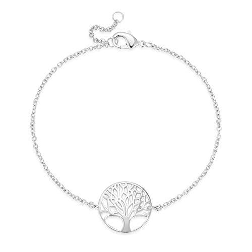 Baum des Lebens Armband für Damen Mädchen 925 Sterling Silber - Verstellbar Armkette 17.5 cm (Baum Des Lebens-armbänder)