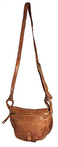 Carano - kleine Umhängetasche Satteltasche Leder Flecht geflochten Vintage Used-Look MEDITERRAN URBAN BAG Damen Schultertasche Ausgehtasche Abendtasche 23x21x6,5 cm (B x H x T), Farbe:olive camel