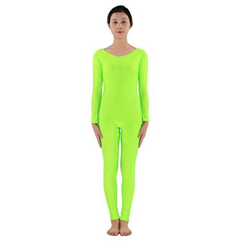 Homyl Männer Frauen Ganzkörperanzug Atmungsaktive Catsuit Anzug Suit Kostüm Sportbody Fitness Ballett Trikot Ballettanzug Tanz-Body - Neongrün, 2XL