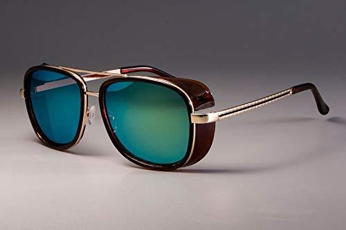 NSYJDSP Iron Man 3 Matsuda Tony Sonnenbrille Männer Gespiegelt Brillen Mode Brillen UV Schutz braun Gold