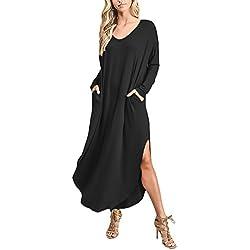Vestidos Mujer Vestidos Largos Elegantes Con Manga Larga V-Cuello Sencillos Unicolor Casual Hippies Vintage Niñas Otoño E Invierno Vestidos Informales Vestidos Camiseros Vestido