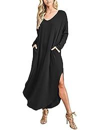 9fc105db4 Vestidos Mujer Vestidos Largos Elegantes Con Manga Larga V-Cuello Sencillos  Unicolor Casual Hippies Vintage