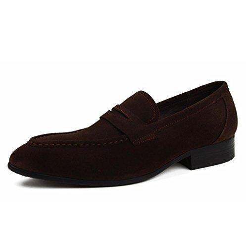 Heart&M business casual maschile pointed toe glassato pelle scamosciata pelle scarpe coffee
