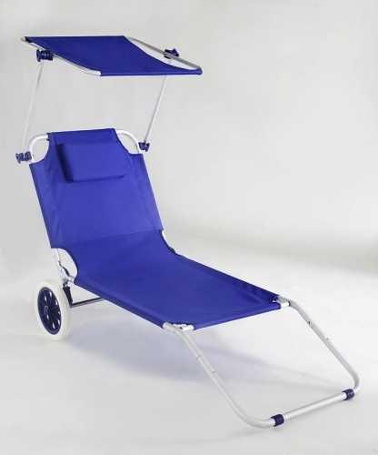 Spiaggina trolley in alluminio con tetto parasole e ruote