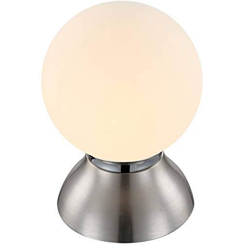 Lampe Tactile Rétro Kitty Argentée En Métal Et Verre Opale
