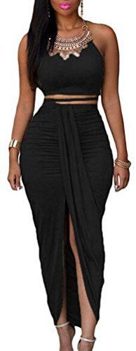 SunIfSnow donna Sexy O-collo bustino Top e gonna maxi, 2 pezzi Black L