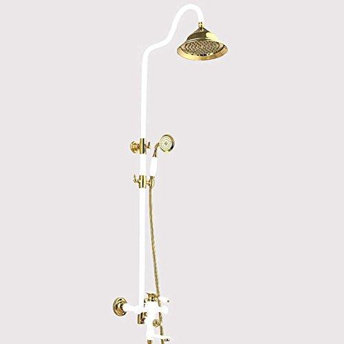 Europäische Vintage Porzellan weißes Badezimmer Dusche, Regen top Dusche und Dusche, Wasserhahn Control, Wandhalterung Dusche System