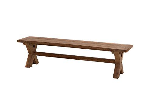Ploß Massivholzbank Lincoln 180 cm - Gartenbank mit X-Beinen - Sitzbank für 4 Personen - Teakholz-Bank ohne Lehne mit FSC-Zertifikat - Holzbank aus Teak für Terrasse, Balkon & Garten