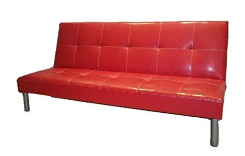 Italfrom divano letto sofa bed divani 3 posti 178 x 79 x 84 divanetti divano attesa rosso - cod.2835