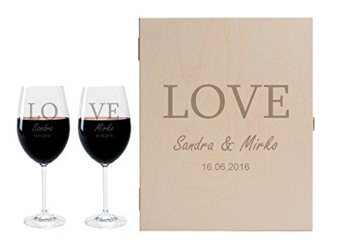 2 Leonardo Weingläser mit Geschenkbox und Gravur Love Geschenkidee Wein-Gläser graviert