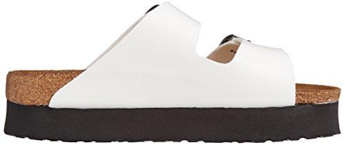 Papillio Arizona Birko-Flor Damen Durchgängies Plateau Sandalen Weiß (White Patent)