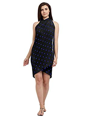 SOURBH Women's Faux Georgette Beach Wear Wrap Sarong Polka Dot Printed Pareo Swimsuit Cover Up