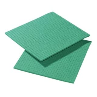 AUK CG040-G Cellulose Sponge Cloth, 206 mm Length x 185 mm Width x 6 mm Thickness, Green (Pack of 10)