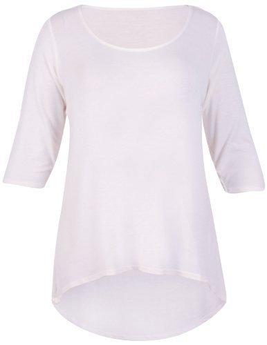 Purple Hanger - Damen Einfarbige T-Shirt 3/4 Arm Schwalbenschwanz Tiefer Saum Runder Aussschnitt Übergröße - EU 48-50, Weiß