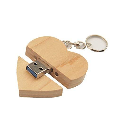 Felisun cuore in legno personalizzato usb3.0 flash drive pendrive 128gb 64 gb 32 gb 16 gb ad alta velocità u disk memory stick storage esterno fotografia regali di nozze (128gb, light color)