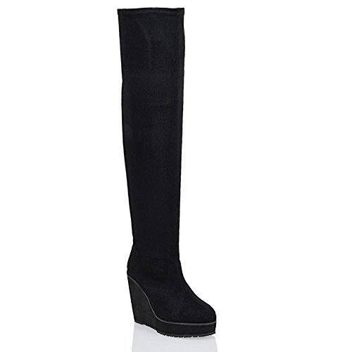 ESSEX GLAM Ladies Over The Knee High Platform Wedge Heel Womens Stretch Thigh High Boots (High Heels Womens Oberschenkel)