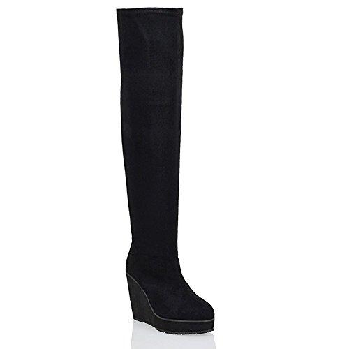 Heel Platform Knee Stiefel (ESSEX GLAM Ladies Over The Knee High Platform Wedge Heel Womens Stretch Thigh High Boots)